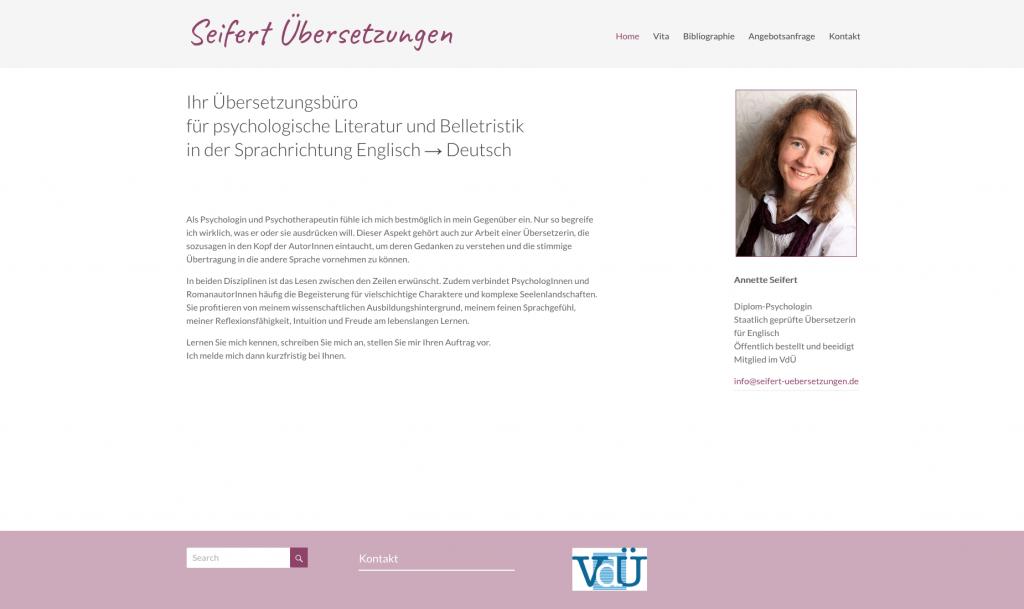 Screenshot Seifert Uebersetzungen 1